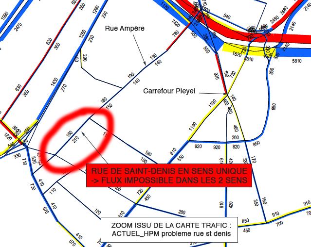 Figure 1 . Circulation biaisée rue de Saint-Denis.