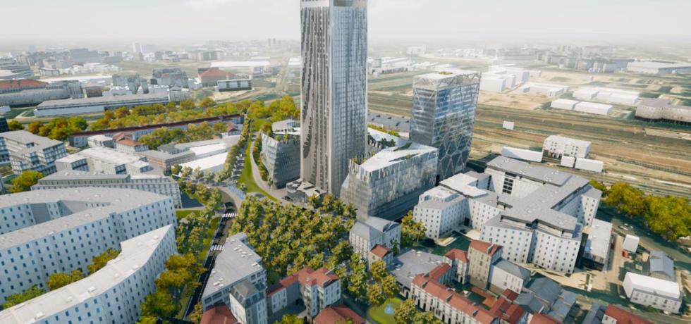 Le quartier autour de la tour Pleyel, tel qu'imaginé dans le projet citoyen alternatif.