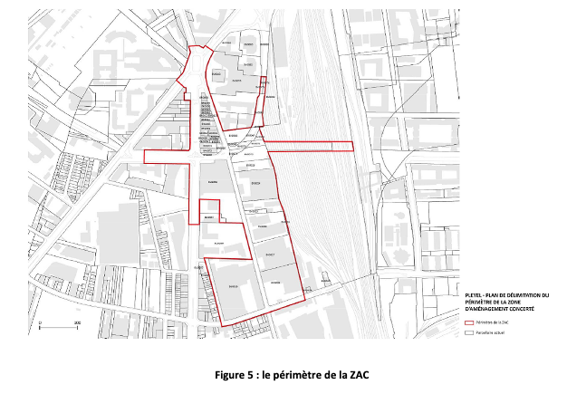 Périmètre de la futur ZAC Pleyel - Source : Source : pièce B - note synthétique de présentation du projet, page 5 dans l'enquête publique de création de la ZAC Pleyel à Saint-Denis (intutulée